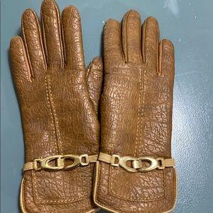 Aris vintage gloves fleece lined gold trim